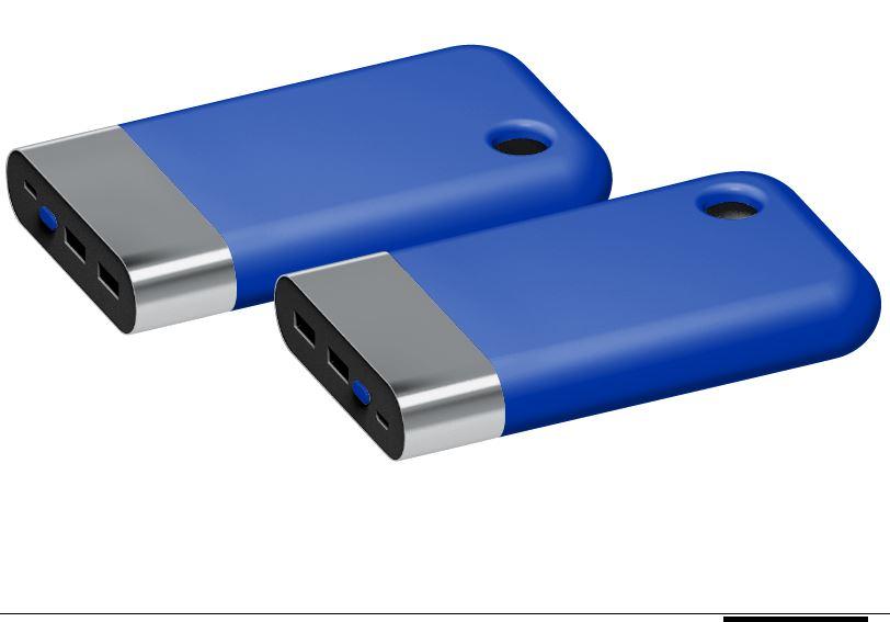 Powerbank Curve chroom-blauw