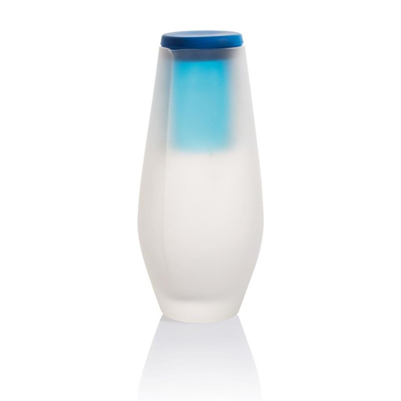 Hyta matglazen karaf met gekleurd drinkglas, blauw