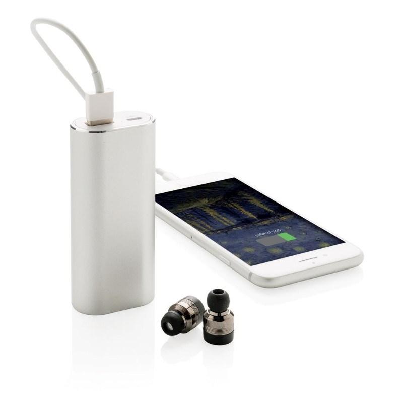 True wireless oordoppen met 2000 mAh powerbank, zilverkleuri