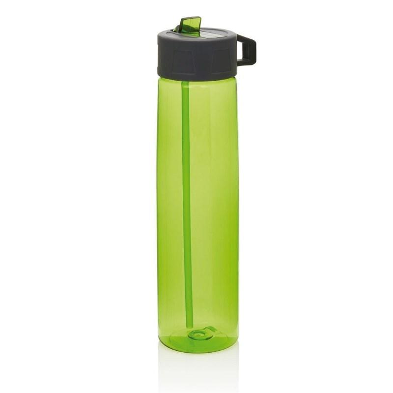 Tritan fles met een rietje, groen/grijs