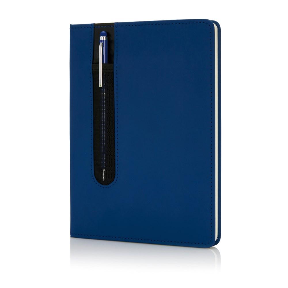 Standaard hardcover PU A5 notitieboek met stylus pen, zwart