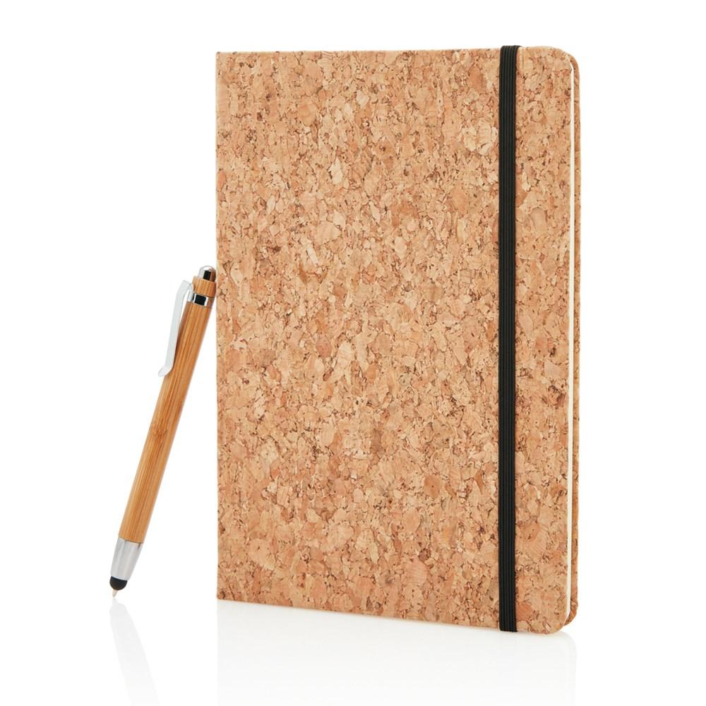 A5 kurken notitieboek incl touchscreen pen, bruin