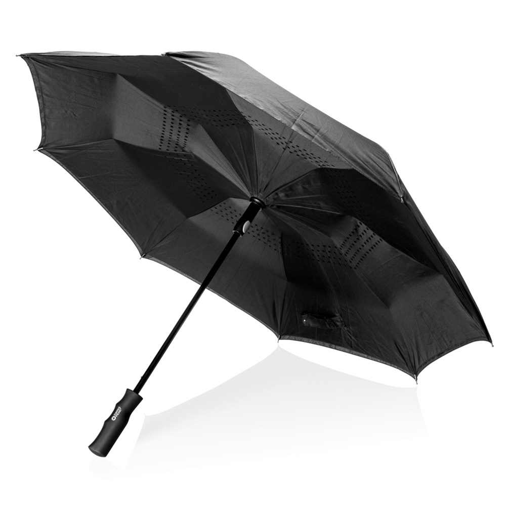 Swiss Peak 23 auto open reversible paraplu, zwart