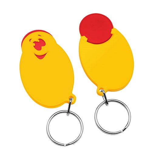 "Winkelwagenmunthouder met 1€-muntje ""Smiley"""