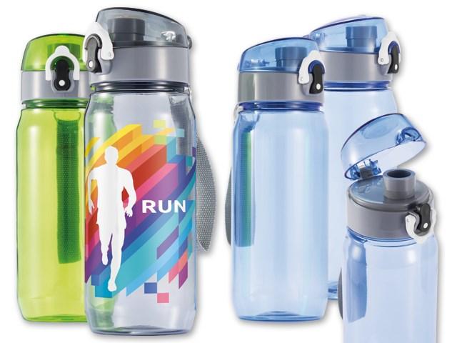 TRIPPER ,Tritan-fles met afsluitbaar deksel met druk-open functie en riem voor comfortabel dragen Volume 600 ml