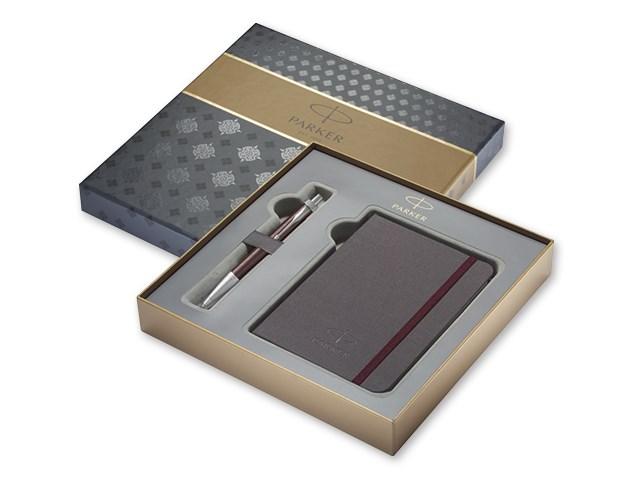 IM ROYAL SET ,Schrijfset balpen in metaal met blauwe hervulling, notitieblok in geschenkdoos