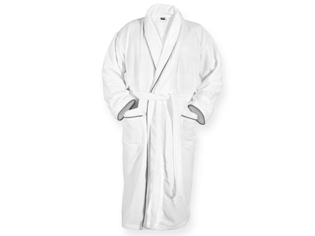 ROPE ,Unisex badjas met kraag, 2 zakjes, riem en dubbellaags materiaal De buitenste laag van de badjas is fluweelachtig, het binnenmateriaal is gemaakt van badstof