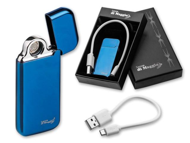 ESCOBAR ,USB aansteker van plastic met 2 plasmabogen en kabel om op te laden in geschenkdoos Bevat USB kabelMicro USB