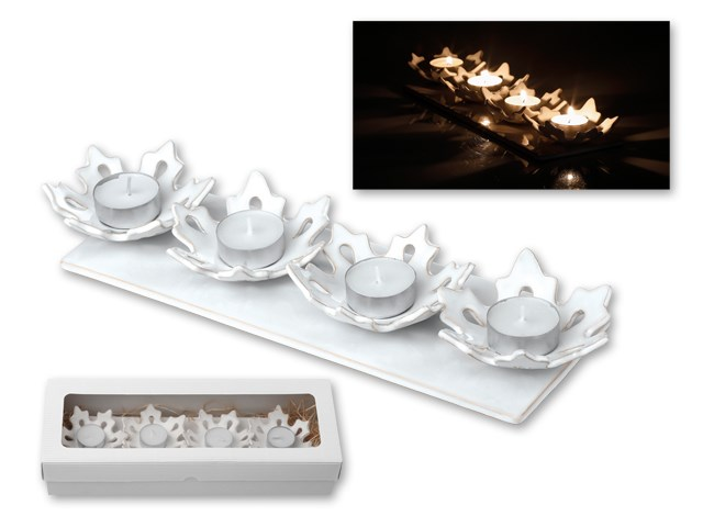 ADVENT SHINE ,Kerst decoratieve kandelaar in keramiek in geschenkverpakking Geleverd met vier kleine kaarsen