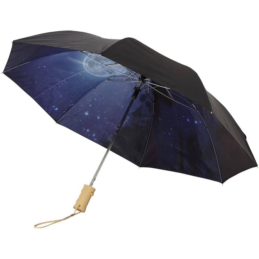 21 2 sectie opvouwbare automatische paraplu met heldere nacht