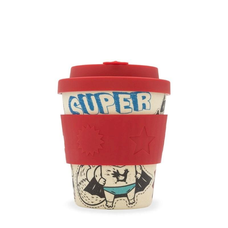 Ecoffee Cup BooCup Superhero Fuel - Bamboe Beker - 240 ml - met Rood Siliconen