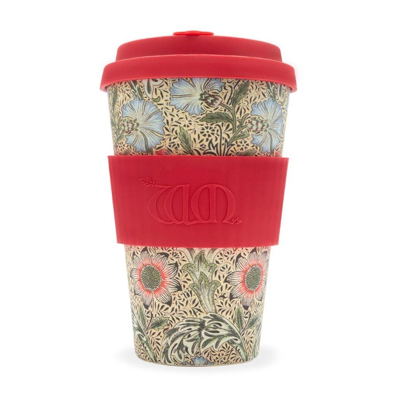 Ecoffee Cup Corncockle - Bamboe Beker - 400 ml - William Morris - met Rood Siliconen