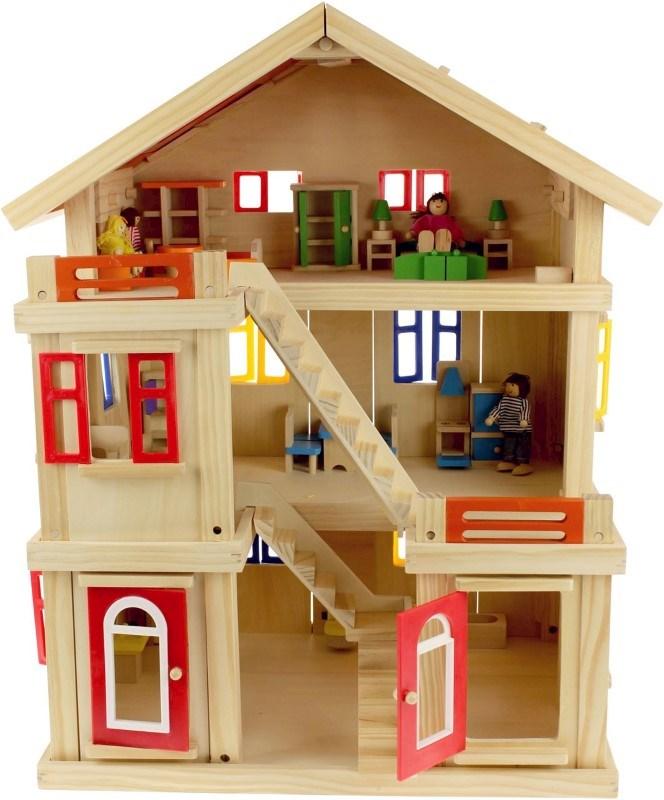 Houten Villa Poppenhuis met Poppen en Meubels - 75x56x435 cm