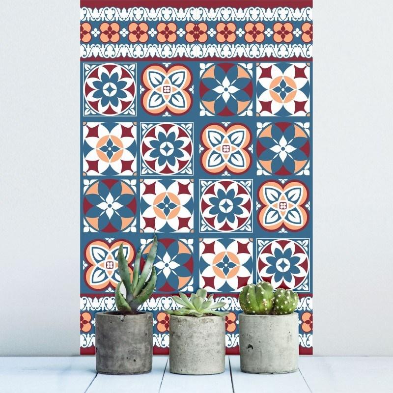 Walplus Talavera - MuurstickerTegelsticker - Rood en Blauw - 20x20 cm - 12 stuks