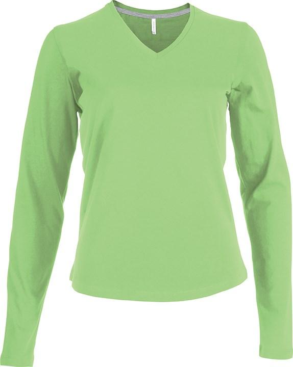Dames T-shirt V-hals Lange Mouwen