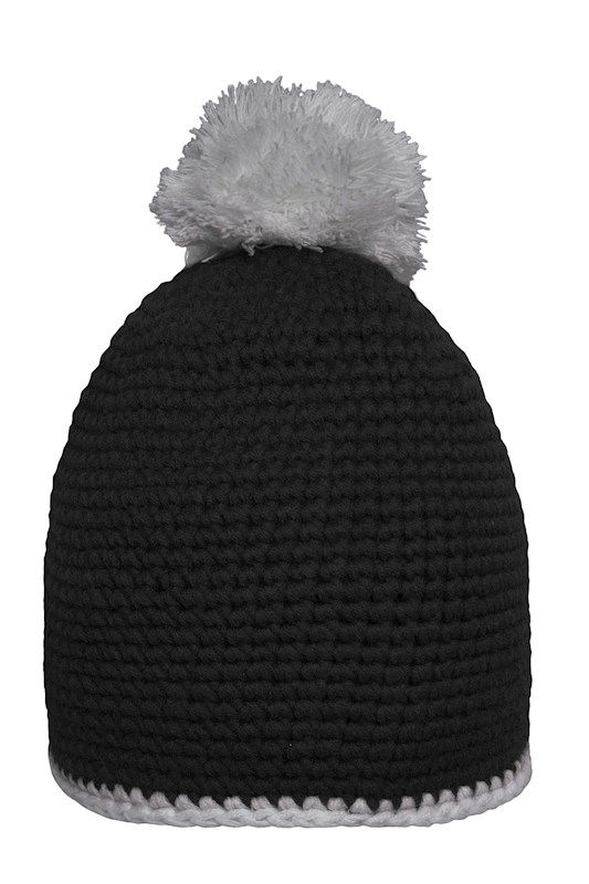 Pompon Hat with Contrast Stripe