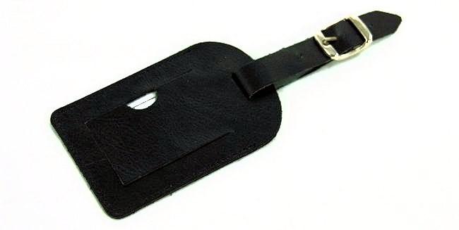 Kofferlabel zwart rundsplitleder -...