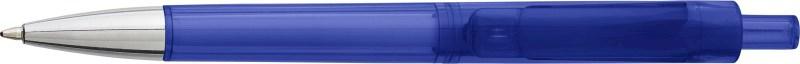 Kunststof transparante balpen, blauwschrijvend