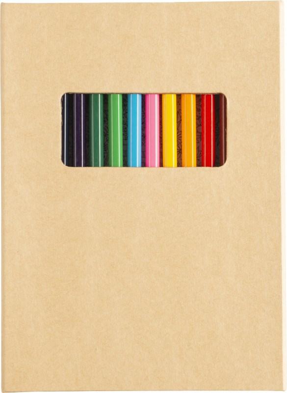 Kartonnen kleurmap met potloden