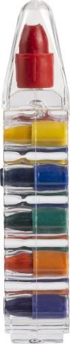 Zes waskrijtjes in container