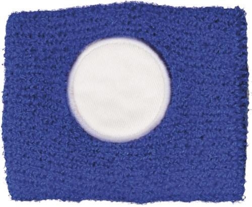 Katoenen zweetbandje met een wit rond vlak.