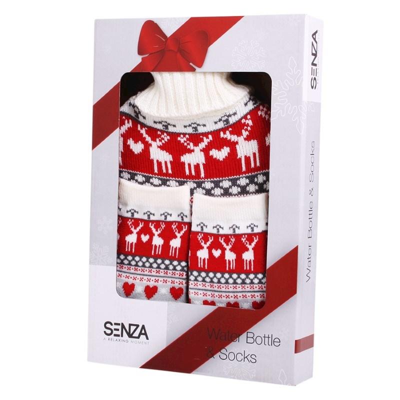 SENZA Water Bottle & Socks Christmas Red