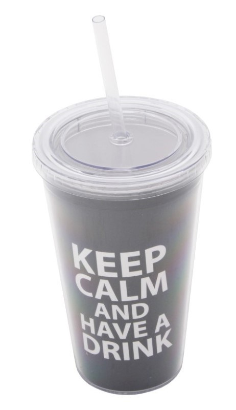 Keep Calm Cup and Straw Black