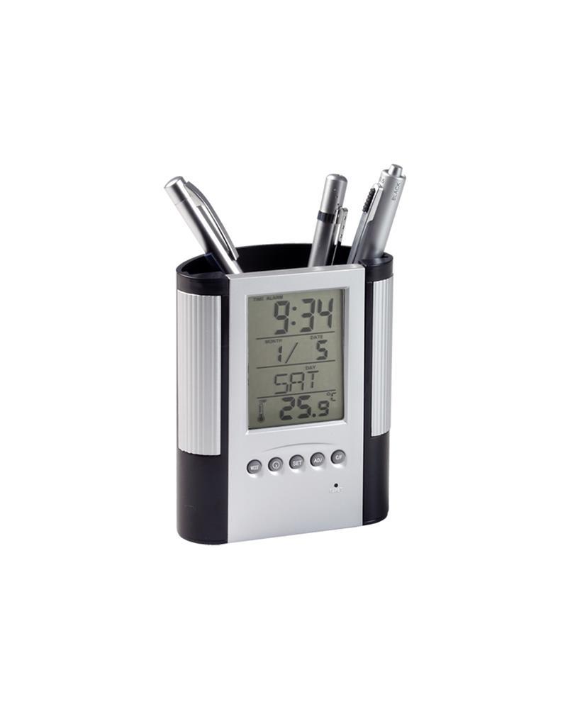 pennenhouder met klok, thermometer