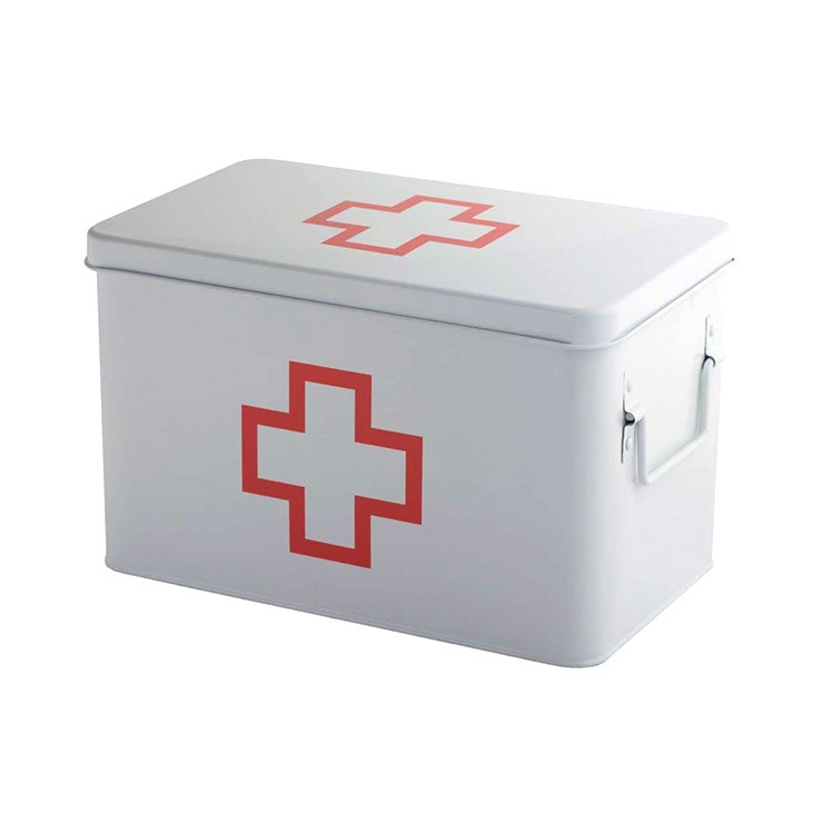 First-aid kit box,L,white,metal