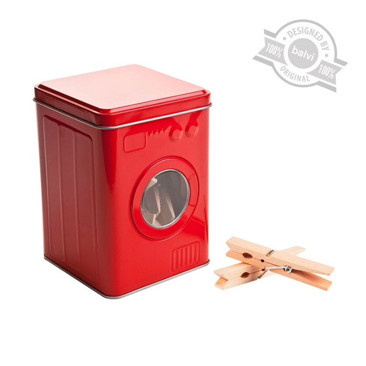 Clothes pegs box,washing machine,red,tin