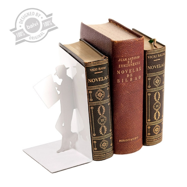 Bookend,TheReader,white,metal