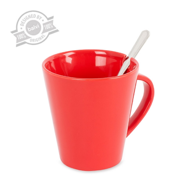 Mug & spoon,Cofix,red,ceramic