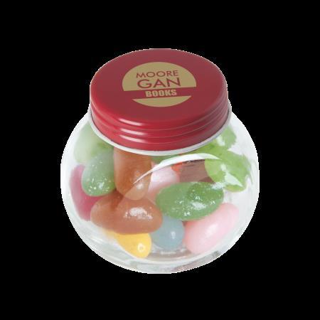 Kleine glazen pot jelly beans