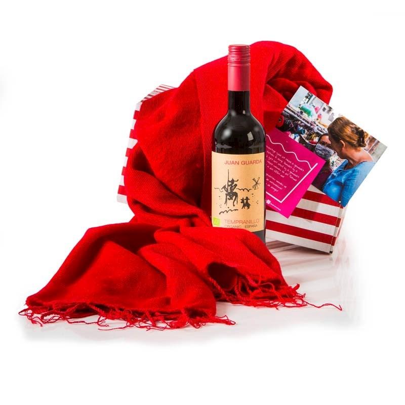 Kerstpakket Sjaal met Verhaal meets Wine