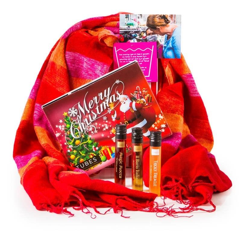 Kerstpakket Sjaal met Verhaal & kerst likeur proeverij
