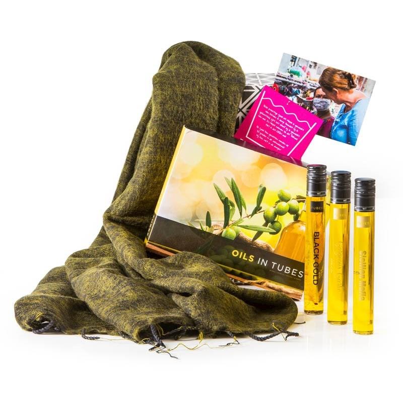 Kerstpakket Sjaal met Verhaal & olijfolie proeverij