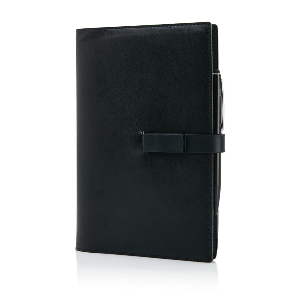 Executive 8GB USB notitieboek met stylus pen, zwart