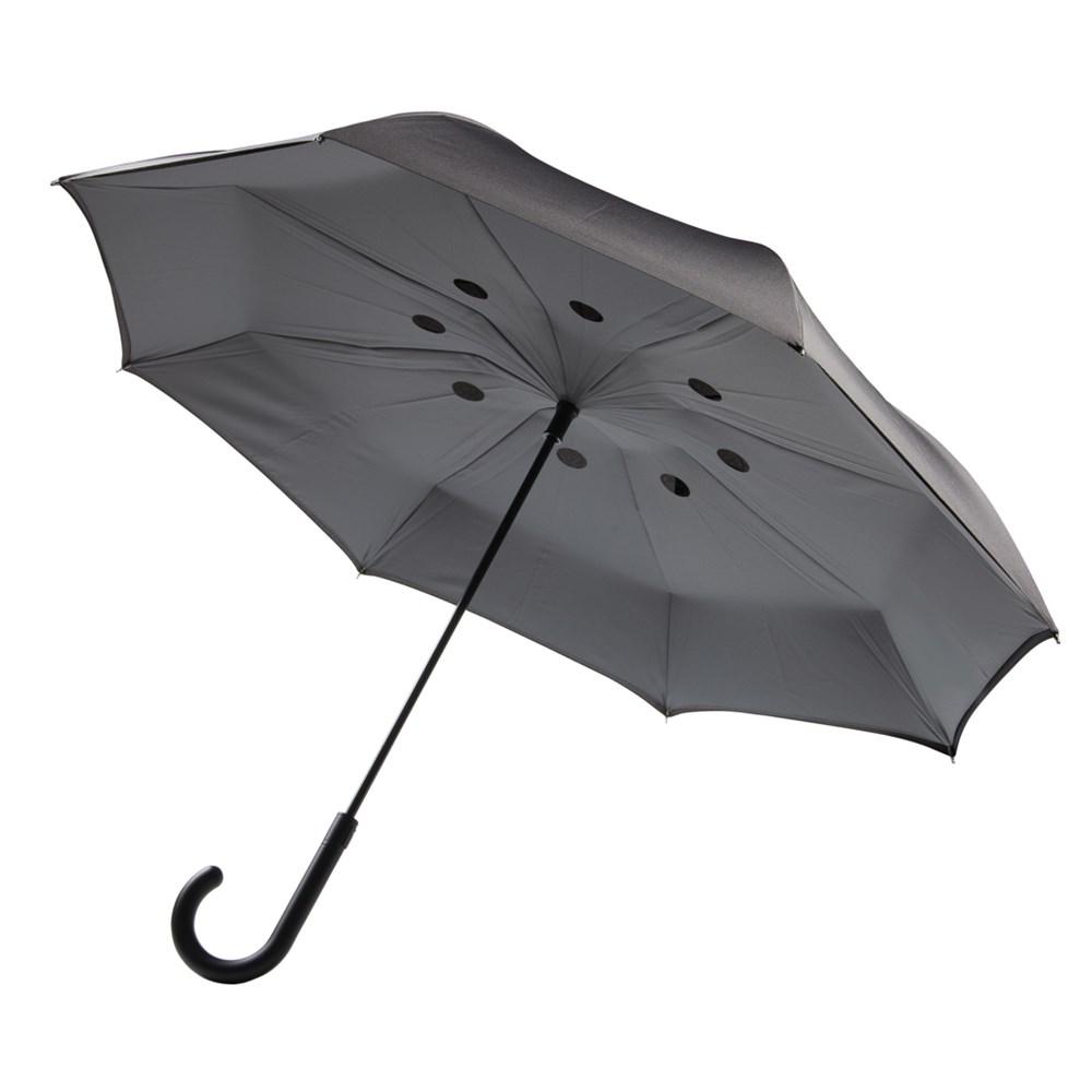 """Auto Close Reversible 23"""" paraplu, grijs"""