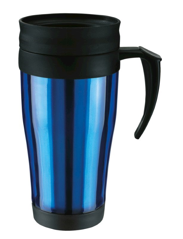 Plastic cup with lid, 400ml, blue