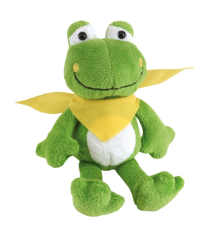 Plush frog Bernd with yellow scarf