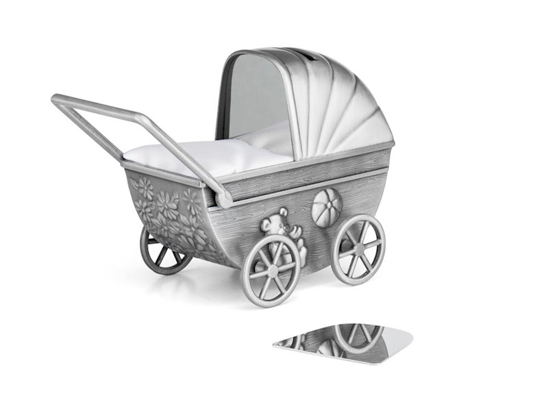 Spaarpot Kinderwagen met graveerplaatje, mat