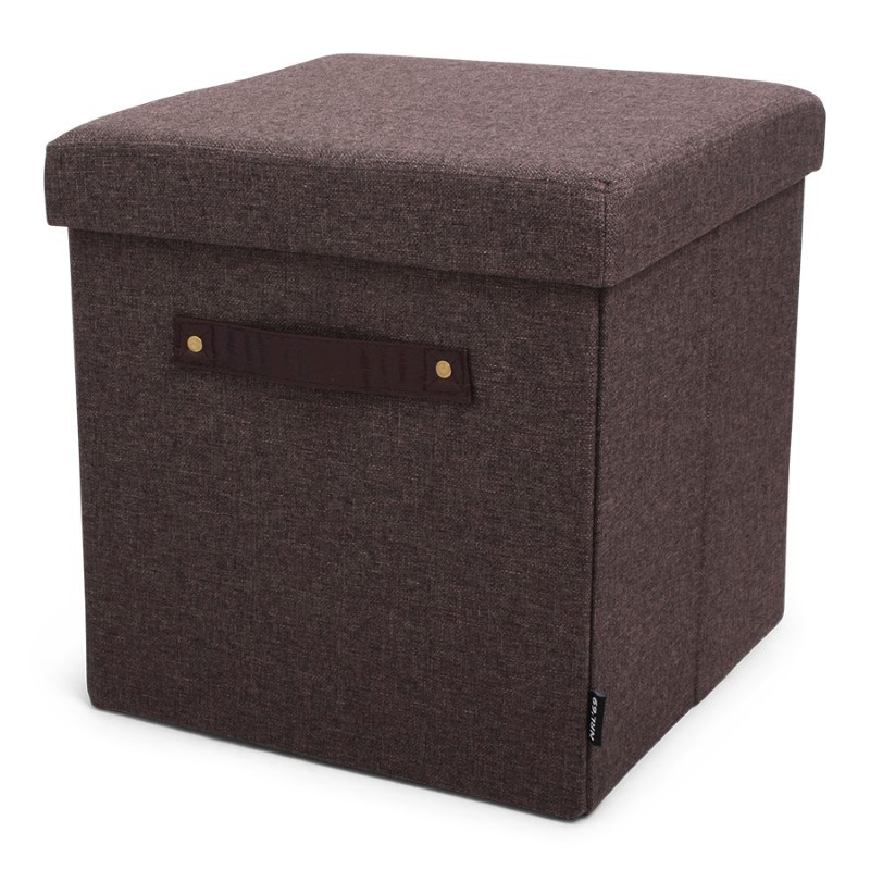 Pouffe Dark Brown + PU handles with Serving Tray