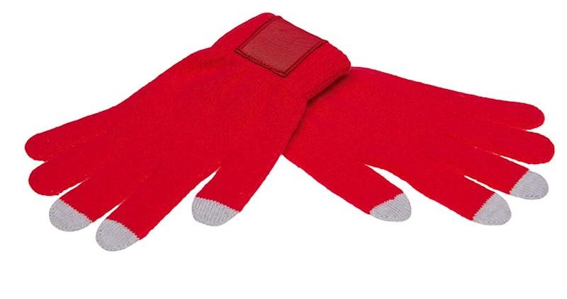 Touchscreen gloves met label